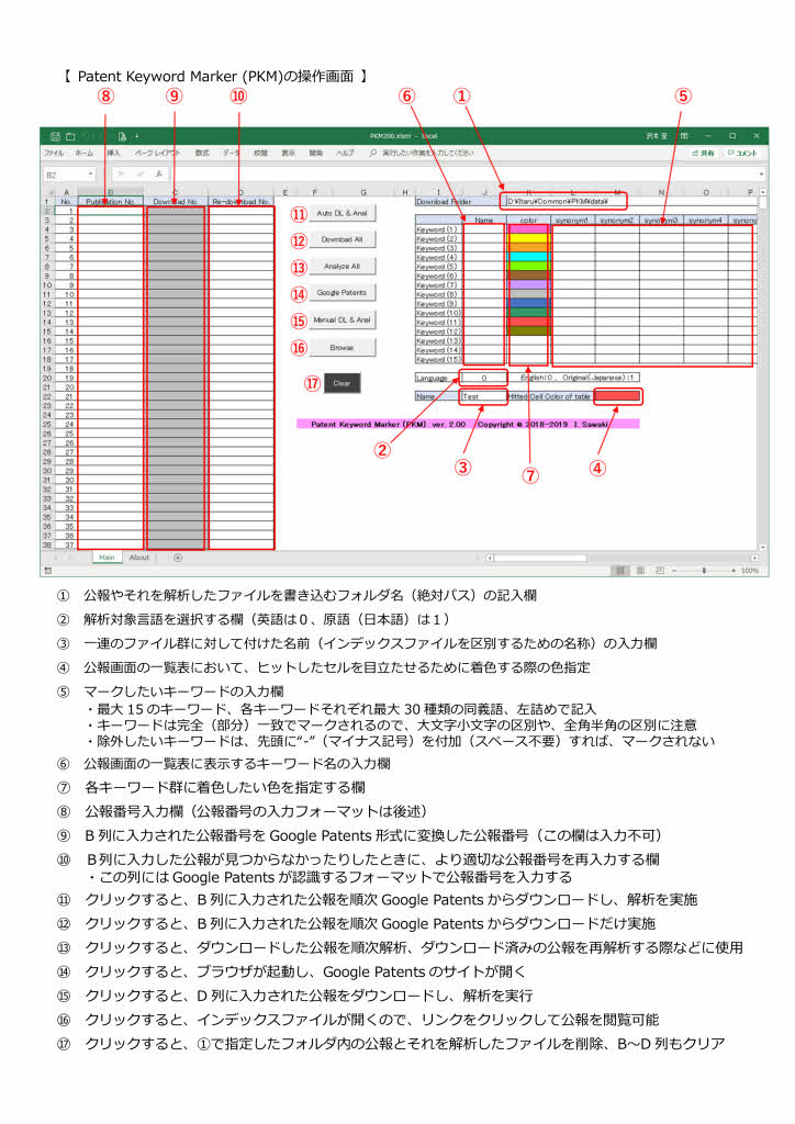PKM操作画面説明